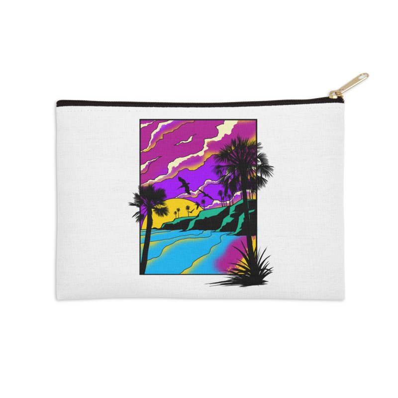 sunset and beach Accessories Zip Pouch by hd's Artist Shop