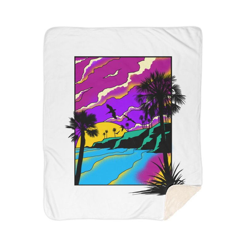 sunset and beach Home Sherpa Blanket Blanket by hd's Artist Shop