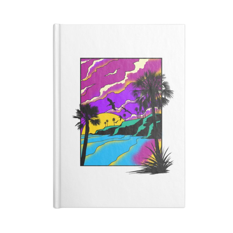 sunset and beach Accessories Lined Journal Notebook by hd's Artist Shop