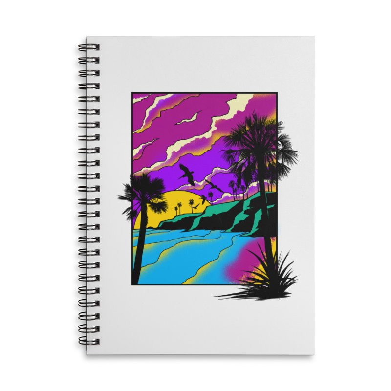 sunset and beach Accessories Lined Spiral Notebook by hd's Artist Shop