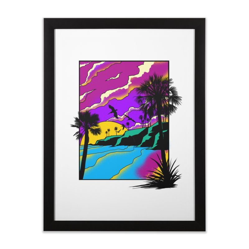 sunset and beach Home Framed Fine Art Print by hd's Artist Shop