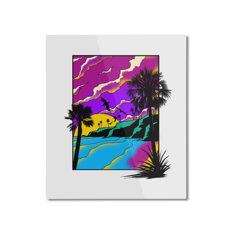 sunset and beach Home Mounted Aluminum Print by hd's Artist Shop