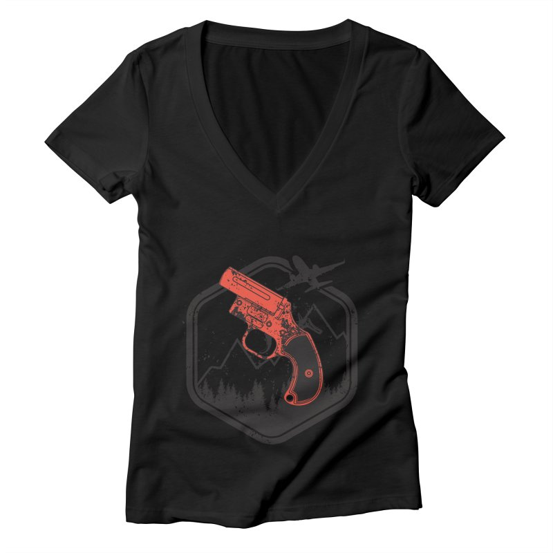 flare gun unknown Women's V-Neck by hd's Artist Shop