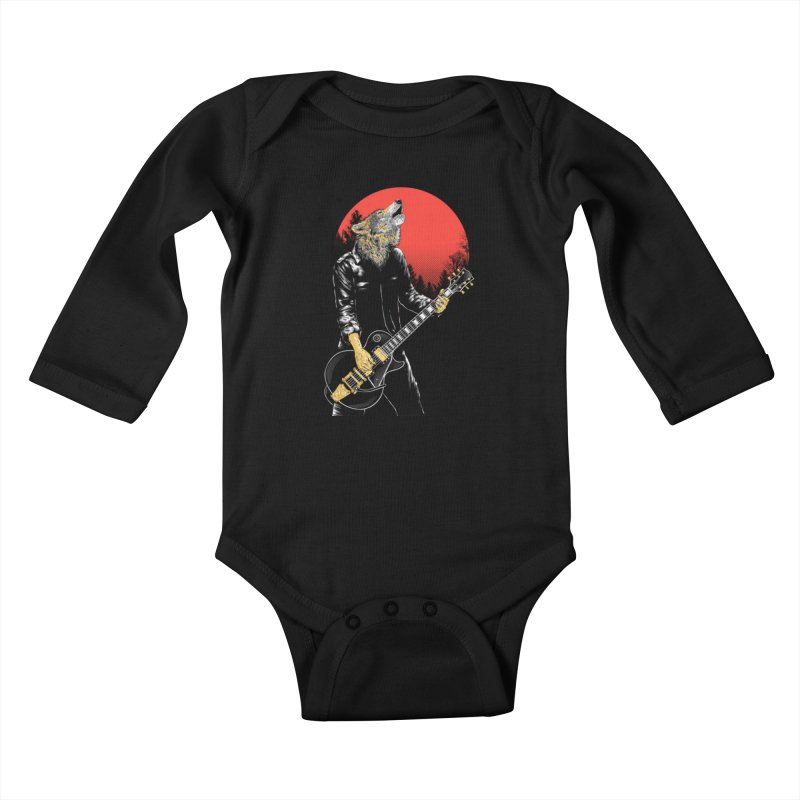wolf band Kids Baby Longsleeve Bodysuit by hd's Artist Shop