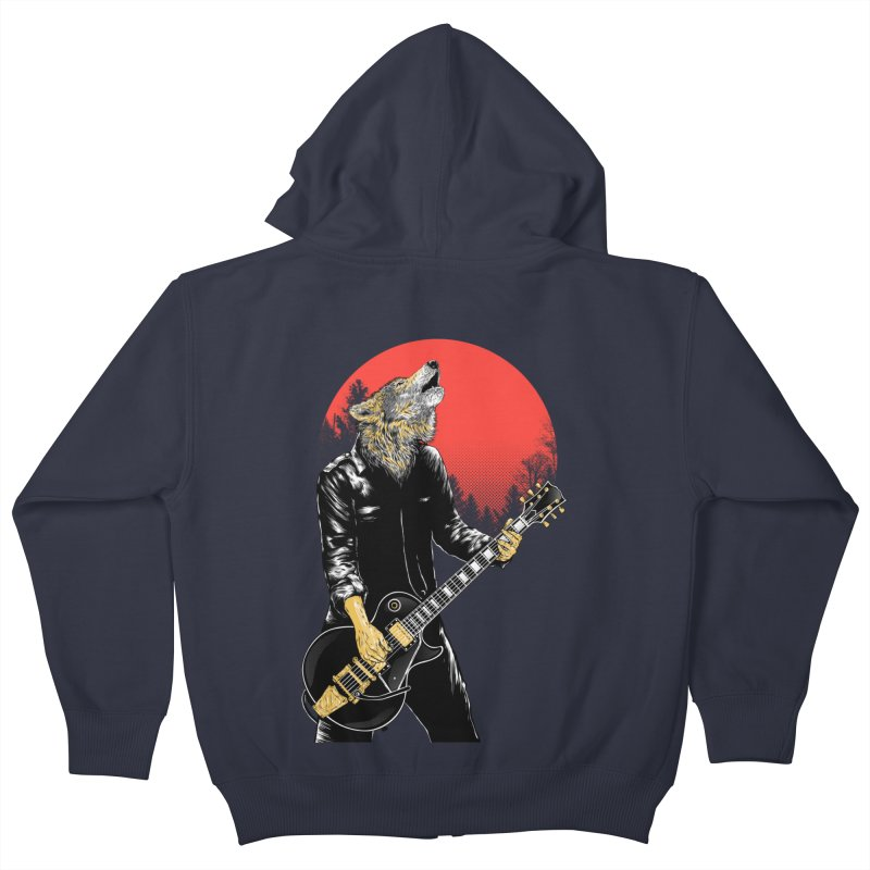 wolf band Kids Zip-Up Hoody by hd's Artist Shop