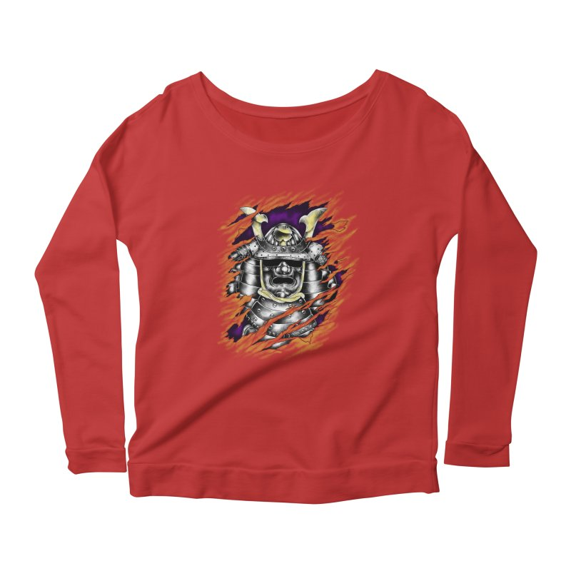 samurai Women's Longsleeve Scoopneck  by hd's Artist Shop
