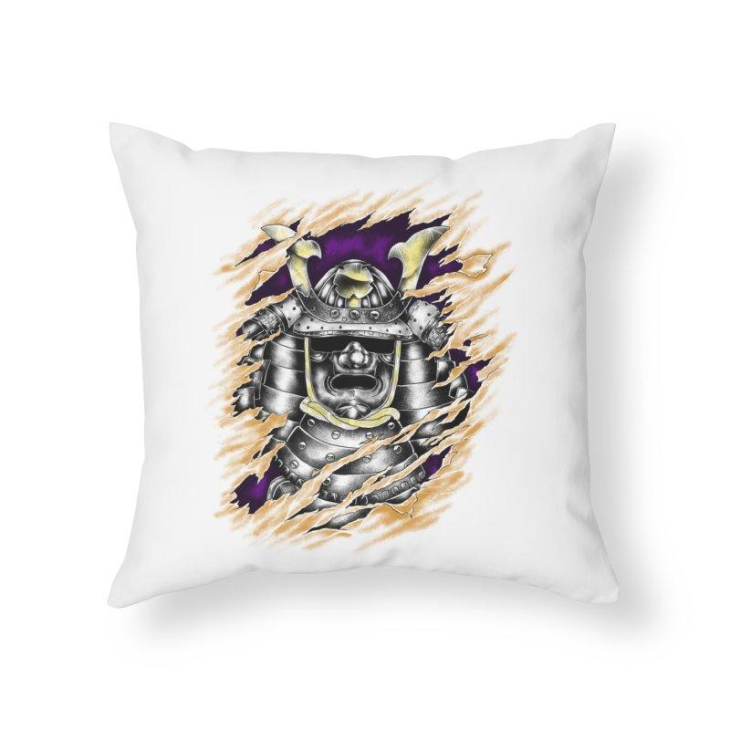 samurai Home Throw Pillow by hd's Artist Shop