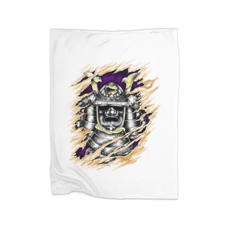 samurai Home Fleece Blanket Blanket by hd's Artist Shop