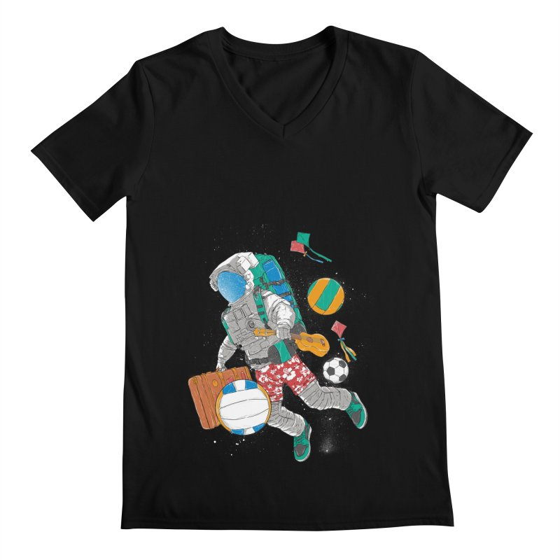 astronaut on vacation Men's Regular V-Neck by hd's Artist Shop