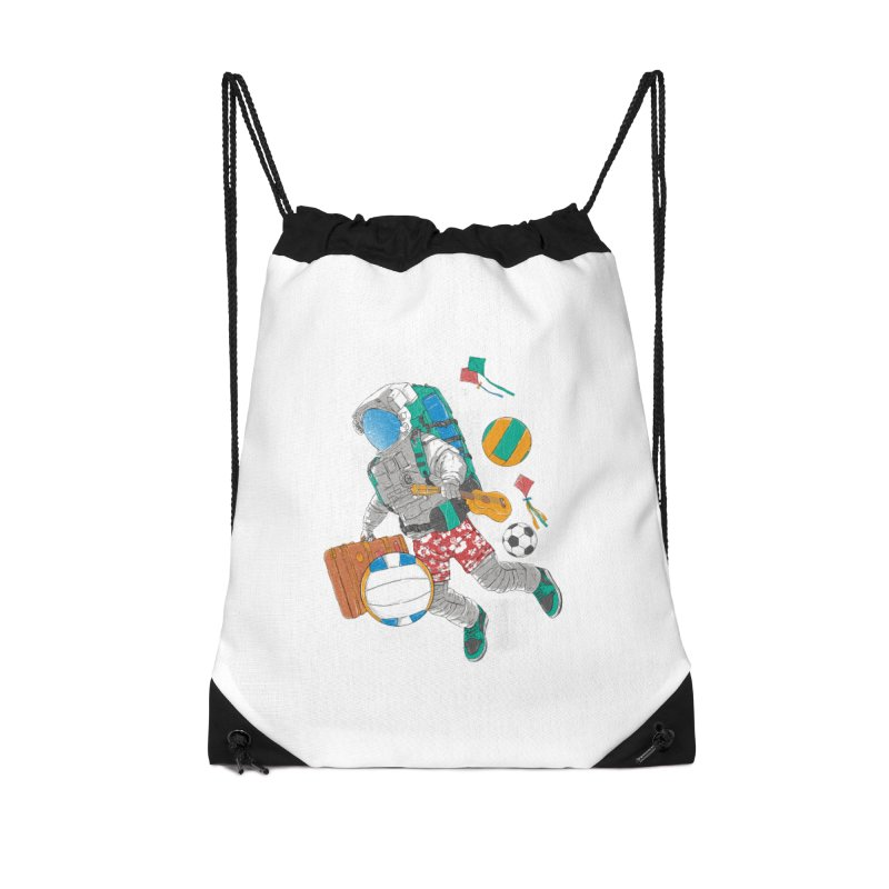 astronaut on vacation Accessories Drawstring Bag Bag by hd's Artist Shop