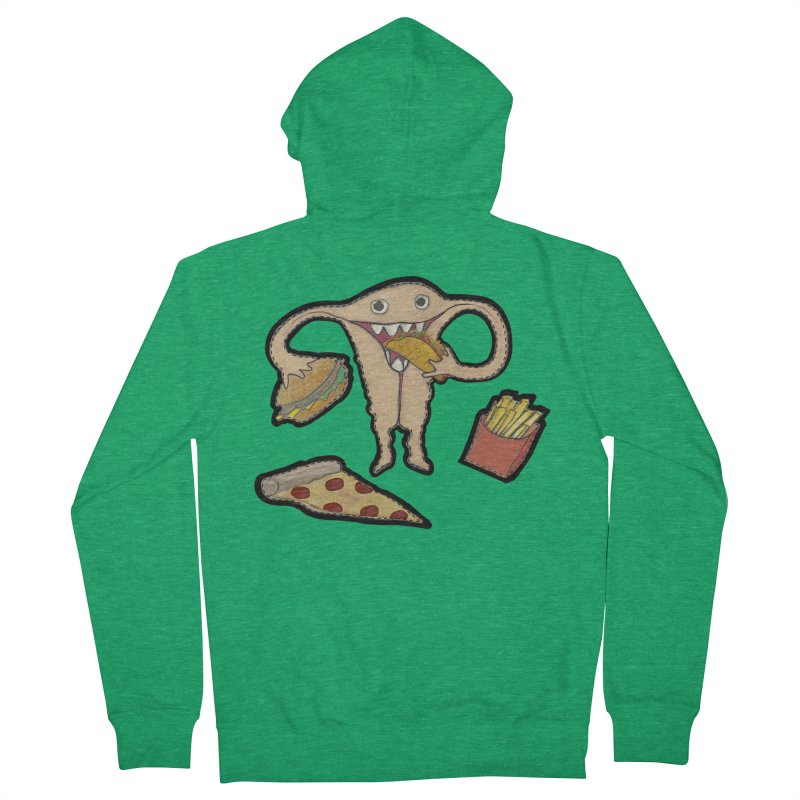 Hungry Uterus  Women's French Terry Zip-Up Hoody by heARTcart's Artist Shop