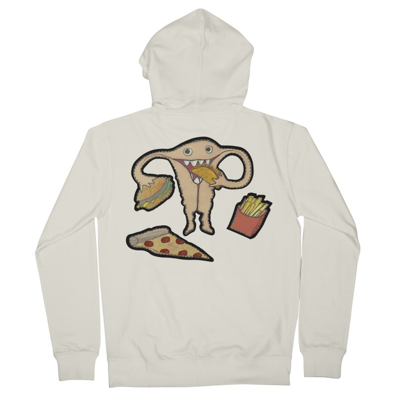 Hungry Uterus  Men's French Terry Zip-Up Hoody by heARTcart's Artist Shop