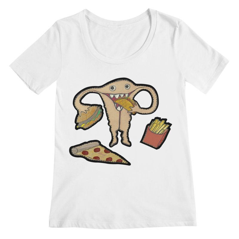 Hungry Uterus  Women's Regular Scoop Neck by heARTcart's Artist Shop