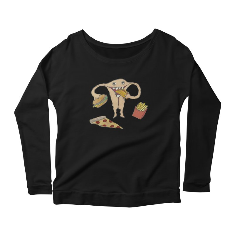 Hungry Uterus  Women's Scoop Neck Longsleeve T-Shirt by heARTcart's Artist Shop