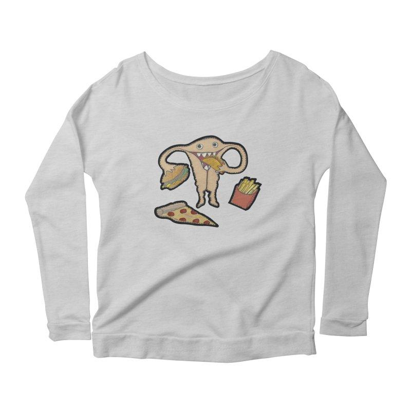 Hungry Uterus  Women's Scoop Neck Longsleeve T-Shirt by heARTcart's Artist Shop