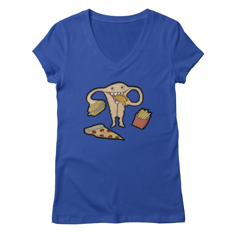 Hungry Uterus  Women's Regular V-Neck by heARTcart's Artist Shop