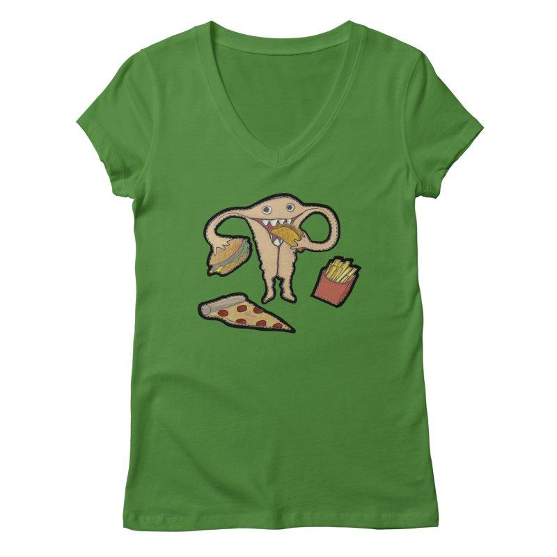 Hungry Uterus  Women's Regular V-Neck by heARTcart's Artist Shop