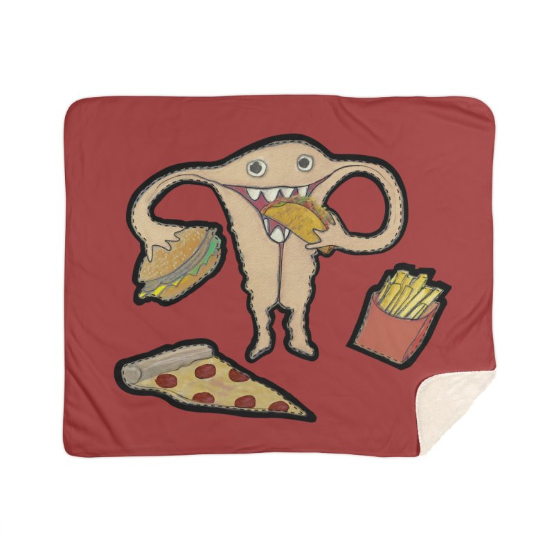 Hungry Uterus  Home Sherpa Blanket Blanket by heARTcart's Artist Shop