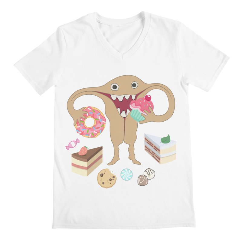 Hungry Uterus Sweet Tooth Men's V-Neck by heARTcart's Artist Shop
