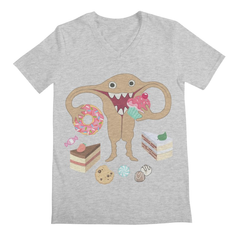 Hungry Uterus Sweet Tooth Men's Regular V-Neck by heARTcart's Artist Shop