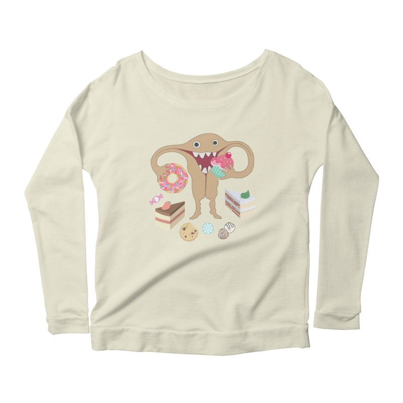 Hungry Uterus Sweet Tooth Women's Scoop Neck Longsleeve T-Shirt by heARTcart's Artist Shop