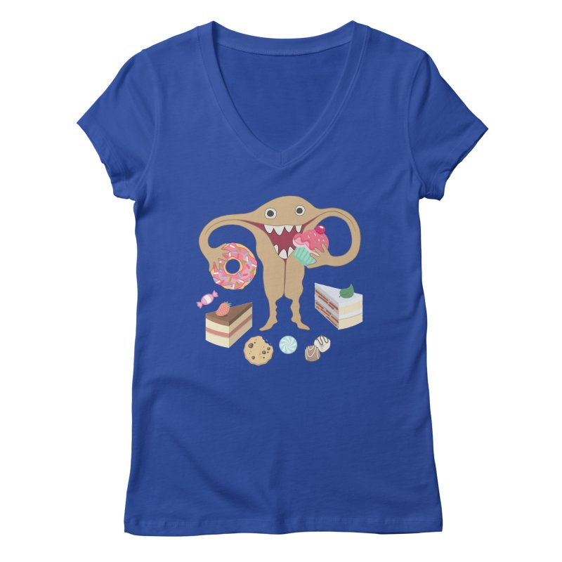 Hungry Uterus Sweet Tooth Women's Regular V-Neck by heARTcart's Artist Shop