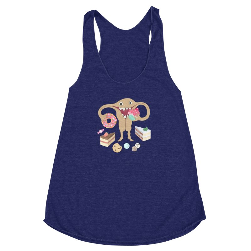 Hungry Uterus Sweet Tooth Women's Racerback Triblend Tank by heARTcart's Artist Shop