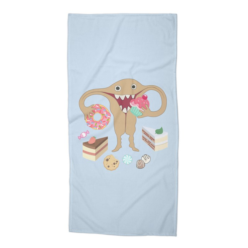 Hungry Uterus Sweet Tooth Accessories Beach Towel by heARTcart's Artist Shop