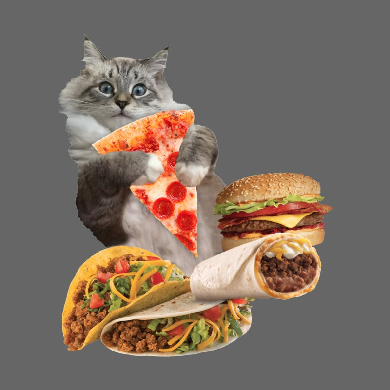 Taco Pizza Burger Cat  Men's Longsleeve T-Shirt by heARTcart's Artist Shop