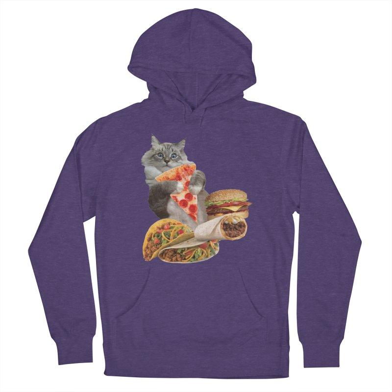 Taco Pizza Burger Cat  Men's Pullover Hoody by heARTcart's Artist Shop