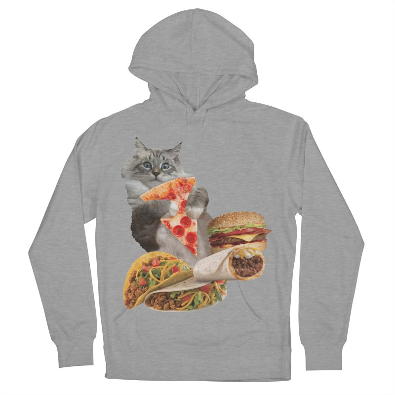 Taco Pizza Burger Cat  Women's French Terry Pullover Hoody by heARTcart's Artist Shop