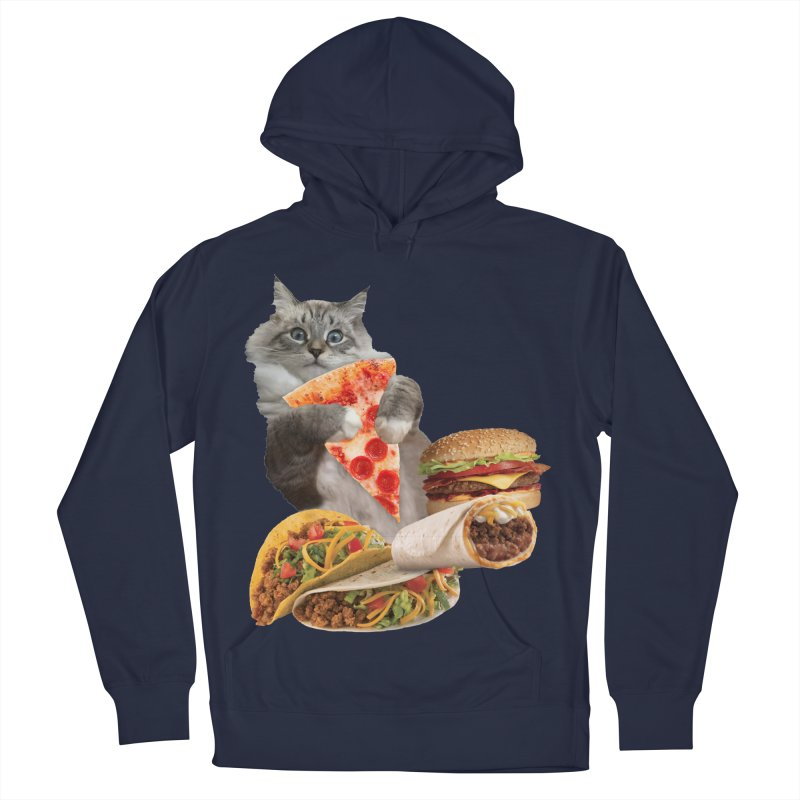 Taco Pizza Burger Cat  Men's French Terry Pullover Hoody by heARTcart's Artist Shop