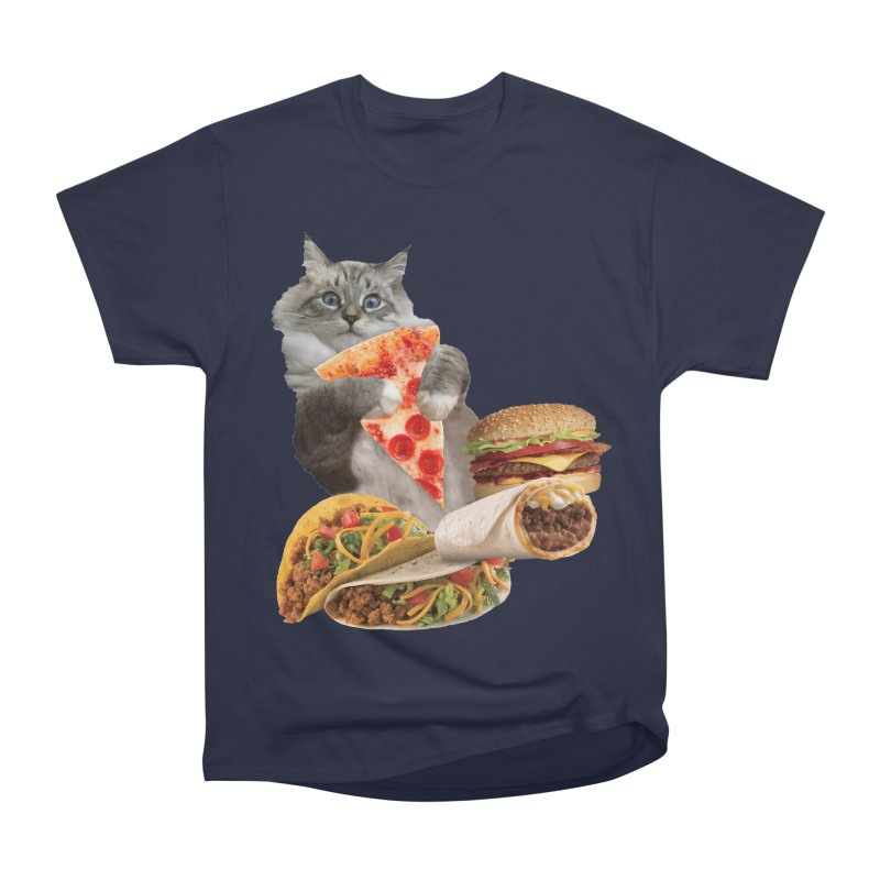 Taco Pizza Burger Cat  Men's Heavyweight T-Shirt by heARTcart's Artist Shop