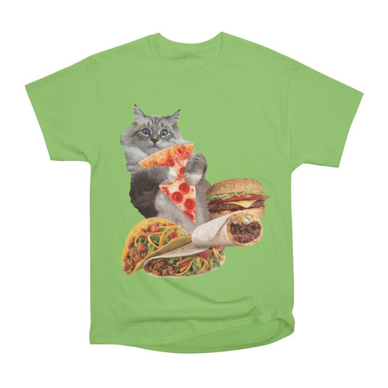 Taco Pizza Burger Cat  Women's Heavyweight Unisex T-Shirt by heARTcart's Artist Shop