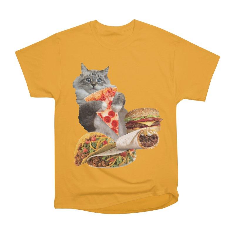 Taco Pizza Burger Cat  Men's Heavyweight T-Shirt by heARTcart's Artist Shop