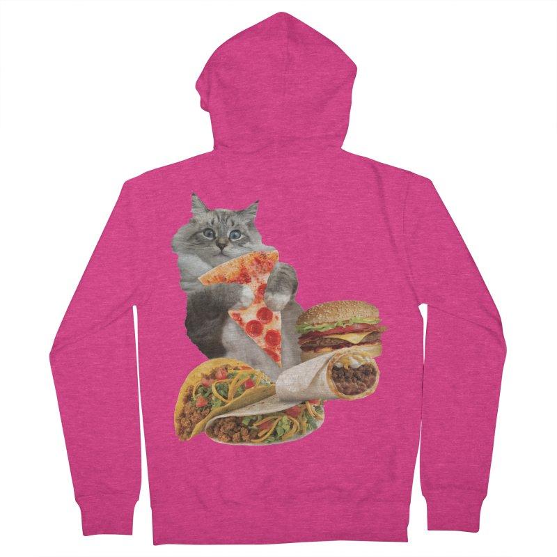 Taco Pizza Burger Cat  Women's French Terry Zip-Up Hoody by heARTcart's Artist Shop
