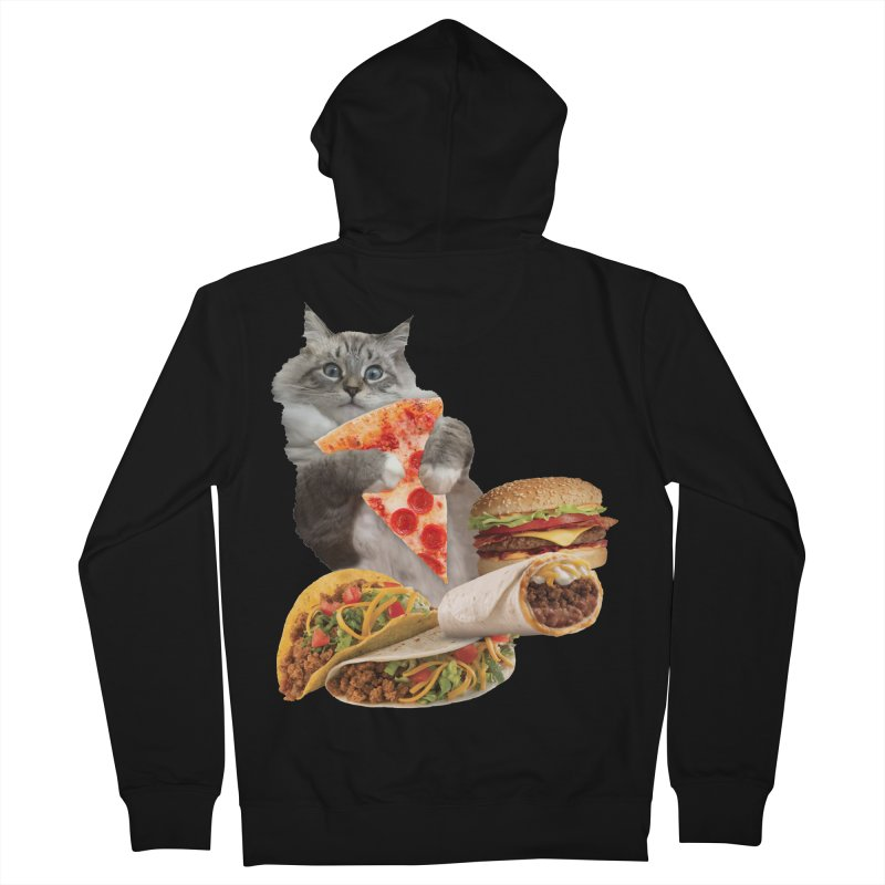 Taco Pizza Burger Cat  Women's French Terry Zip-Up Hoody by heARTcart's Artist Shop