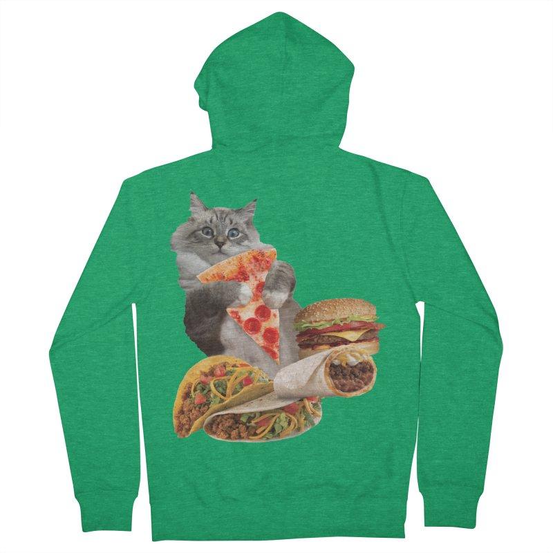 Taco Pizza Burger Cat  Men's French Terry Zip-Up Hoody by heARTcart's Artist Shop