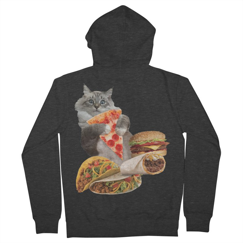Taco Pizza Burger Cat  Men's French Terry Zip-Up Hoody by heARTcart's Artist Shop