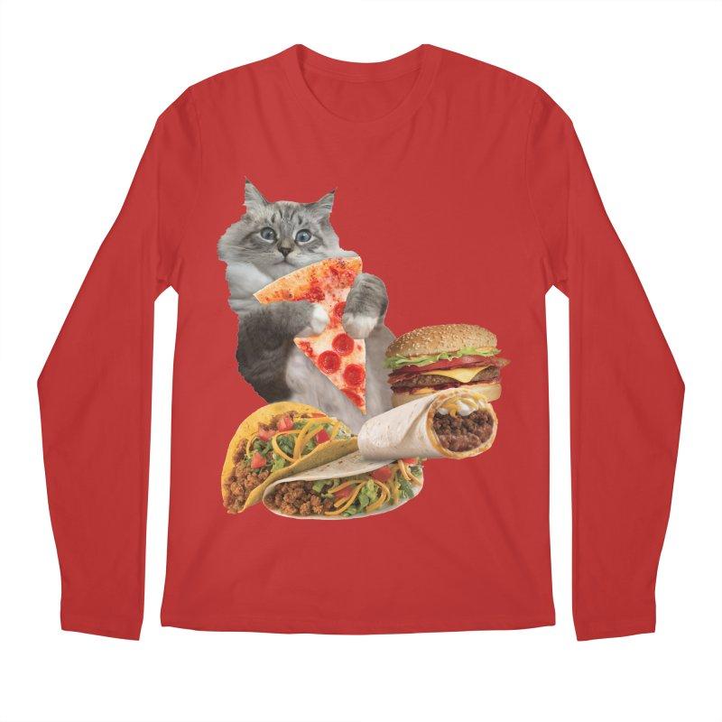 Taco Pizza Burger Cat  Men's Regular Longsleeve T-Shirt by heARTcart's Artist Shop