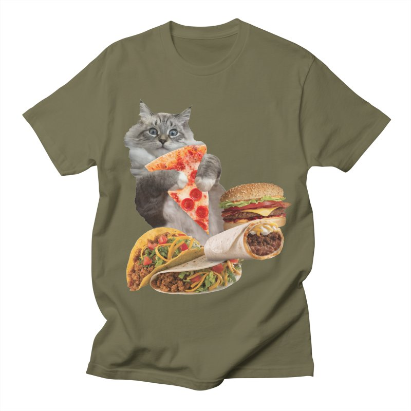 Taco Pizza Burger Cat  Women's Regular Unisex T-Shirt by heARTcart's Artist Shop