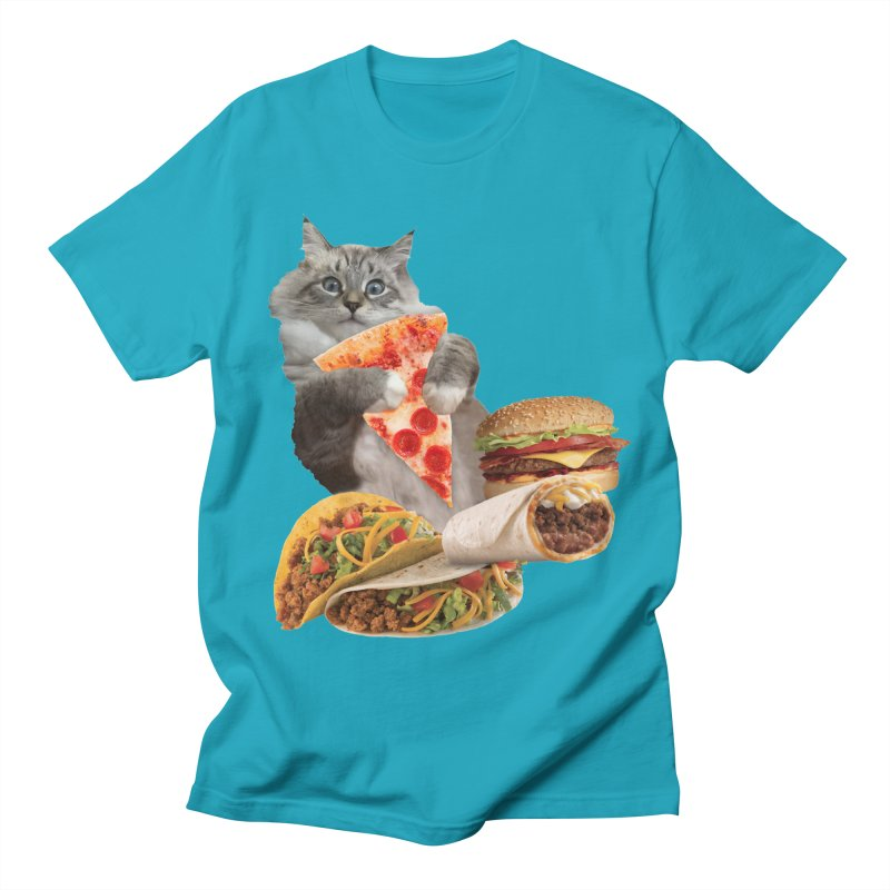Taco Pizza Burger Cat  Men's T-Shirt by heARTcart's Artist Shop