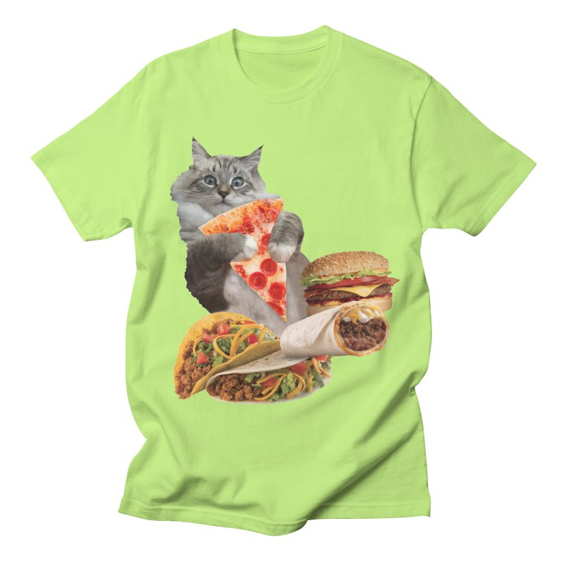 Taco Pizza Burger Cat  Women's Regular Unisex T-Shirt by heARTcart's Artist Shop