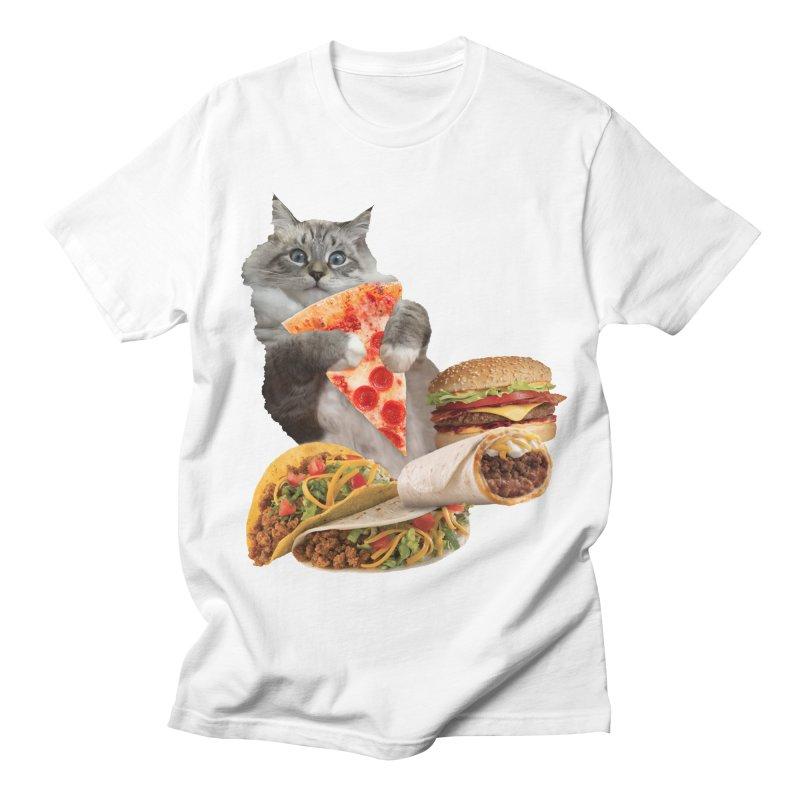 Taco Pizza Burger Cat  Men's Regular T-Shirt by heARTcart's Artist Shop
