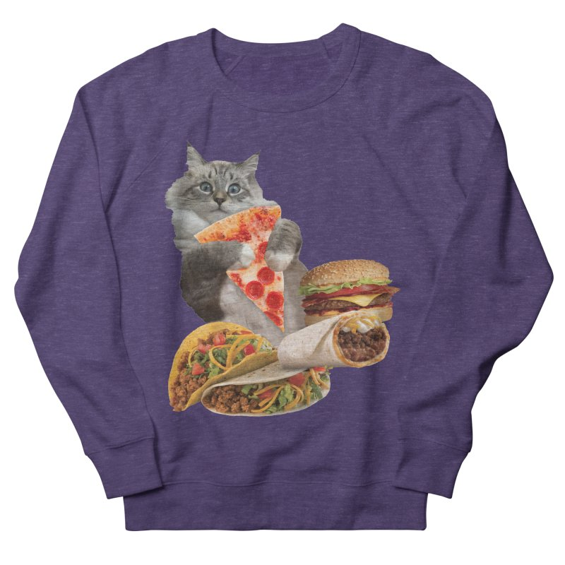 Taco Pizza Burger Cat  Women's French Terry Sweatshirt by heARTcart's Artist Shop