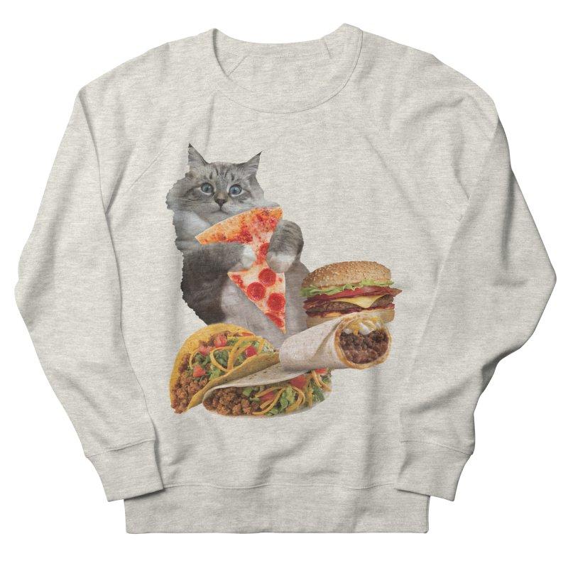 Taco Pizza Burger Cat  Men's French Terry Sweatshirt by heARTcart's Artist Shop
