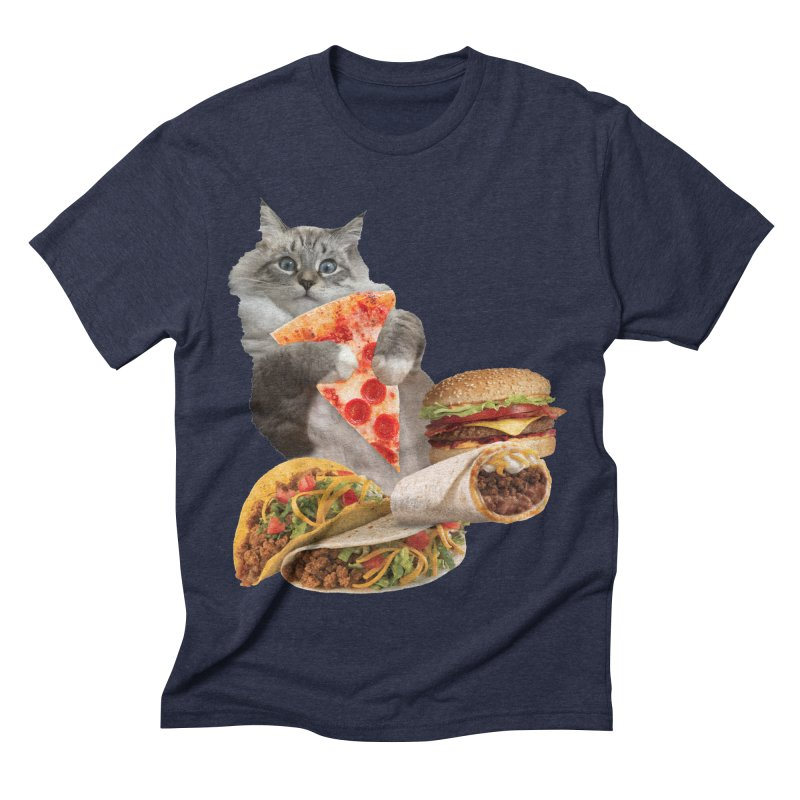Taco Pizza Burger Cat  Men's Triblend T-Shirt by heARTcart's Artist Shop