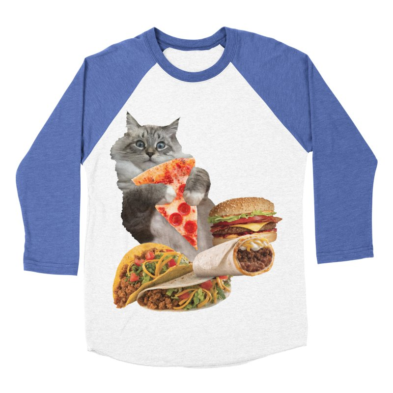 Taco Pizza Burger Cat  Women's Baseball Triblend Longsleeve T-Shirt by heARTcart's Artist Shop