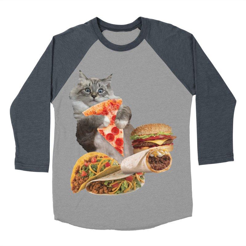 Taco Pizza Burger Cat  Women's Baseball Triblend Longsleeve T-Shirt by heARTcart's Artist Shop