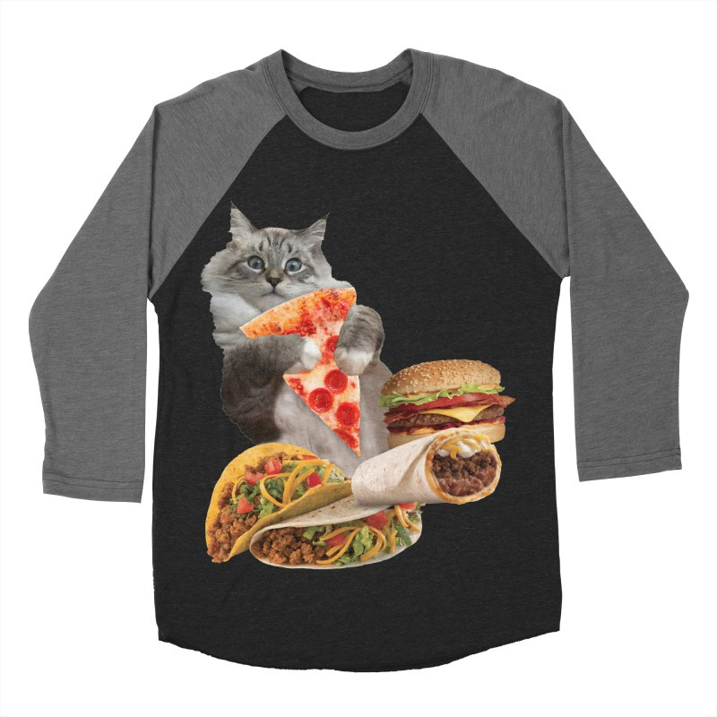 Taco Pizza Burger Cat  Men's Baseball Triblend Longsleeve T-Shirt by heARTcart's Artist Shop